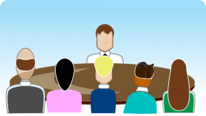 Clip art of person being interviewed for job