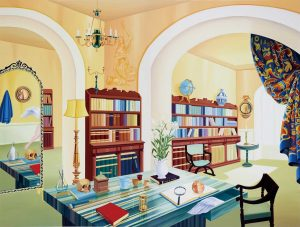 Painting entitled Roaming in a Baroque Library