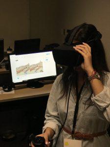 Woman using an Oculus Rift
