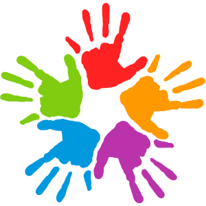 Graphic of five hand prints of different colors