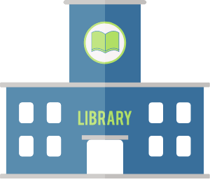 Graphic of a library building